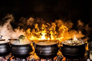 close-up hot coal cook wood flame food meat charcoal pots