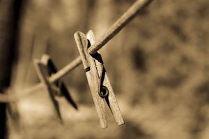 clothespin close-up wire blur rope focus wooden pin string clothesline