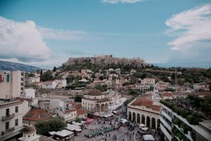 clouds athens tourism trees daylight sky high angle shot buildings landscape metropolis