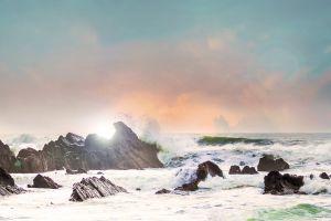clouds beach sea nature rocks waves cornwall sky england ocean