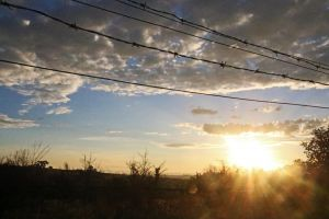 clouds grass barbed wire sunrise blue sky farm