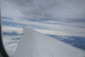 cloudy sky clear sky airplane blue sky