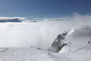 cold daylight winter landscape alps scenic fog snow mountain adventure