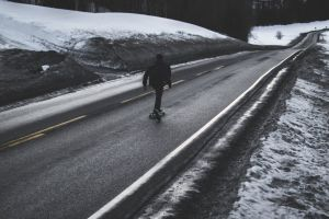 cold daytime weather snow winter skateboarder road skateboard ice frost