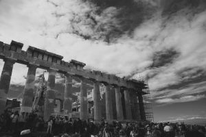 columns black-and-white crowd human people daylight athens greece building architecture