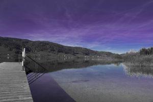 cool vaporwave bridge aesthetics water mountain purple landscape girl love