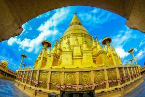 culture buddhist temple buddhism asia wat exterior golden blue grand thailand