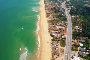daylight sand seashore waves beach daytime urban sea aerial sight