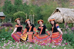 daytime smiling trees flowers nipa hut women faces facial expression people girls