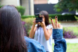 denim fingers peace women taking photo people girls
