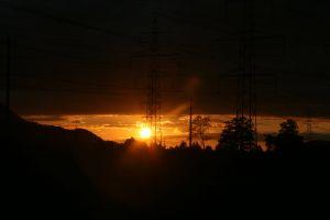 doom and gloom utility pole voltage sunshine outdoor evening sky doom technology dark electric