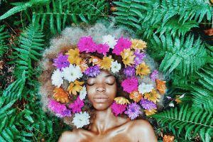 environment growth nature flora bright flowers black landscape woman blossom