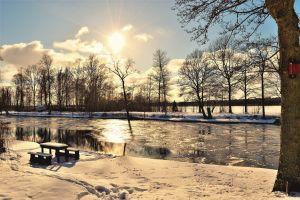 evening winter sunrays landscape cold sunlight sweden clouds sunny nature