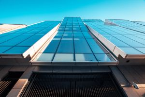 exterior architectural design glass panels building blue sky skyscraper architecture construction dublin futuristic