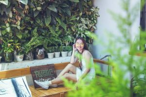 female sitting pretty person woman pose bench young garden girl