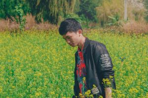 field environment guy nature model bloom person style flowers man