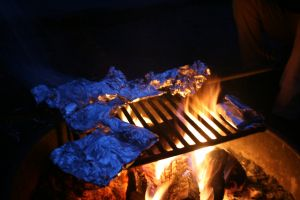 fire blaze campsite camping wilderness camp forest grilling grill food