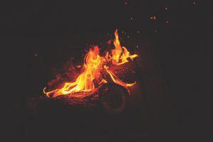 flames heat inferno fire logs danger yellow wood burnt dark