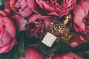 flora bloom close-up blooming perfume roses petals bottle flowers colors