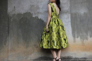 floral girl fashion wear wall posture hands dress pose model