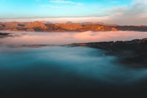 foggy sunrise mountain spain ronda #outdoorchallenge sky