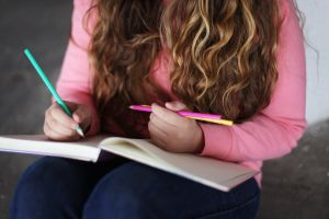 girl blond pencils study girl reading writing blonde notebook reading pens