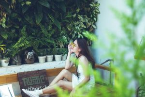 girl female pretty hair sunglasses photoshoot young wear plants style