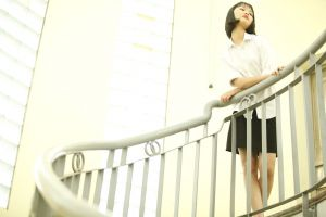 girl stairs wall person wear woman fashion pose indoors handrail