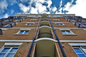 glass items apartments contemporary exterior balconies low angle shot modern urban clouds windows