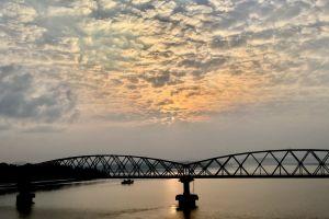 good morning clouds river cruise bridge morning sun peaceful