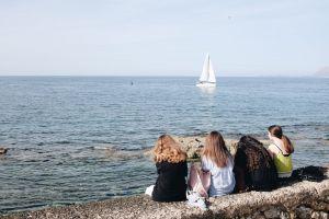 greece people mediterranean sea sea women boat mediterranean sailboat ocean