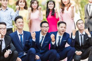 hands people group together contemporary women men friends formal daytime fashion
