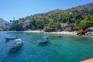houses marina boats mexico seaside beach hill village