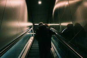 inside stairs upstairs light steel motion people fashion urban escalator