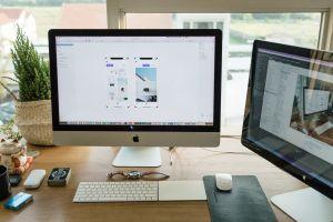 internet wood desk modern apple indoors imac mouse dayt electronics