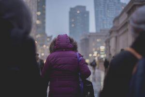 jacket architecture people blur urban citylights adult selective focus purple downtown