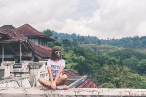 joy lady vacation landscape sitting young scenic stylish fashion happiness