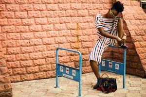 lady urban stripes women fashion outfit fashionable fashion model stones femininity bricks