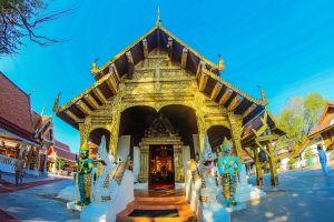 landmark wat asia buddhist religion sacred gold jomthong chiangmai worawihan