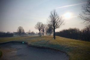 landscape bunker sand trees grass fog scenic nature daylight sunrise