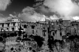 landscape sky buildings cliff black and white exterior architecture daylight houses clouds