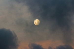 light moon night space shiny clouds evening reflection nature