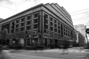 long exposure town architecture road street city building black-and-white downtown
