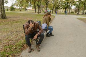 man bench woman facepalm argument quarrel couple portrait people girl