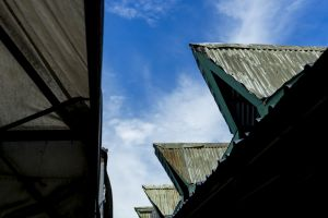 metal daylight roof blue light