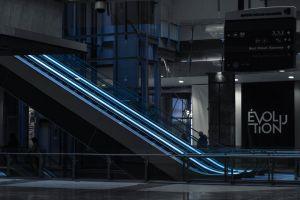modern escalator futuristic architectural