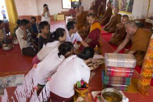 monastery market lao religious food tranquil alms festival people religion