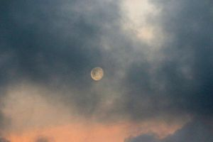 moon nature shiny night space reflection clouds evening light