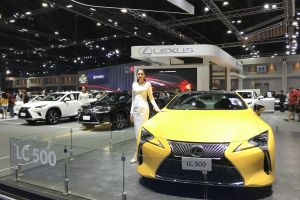 motor show thailand international motor show lexus exhibition center yellow automotive automobile lc 500 car