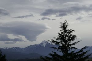 nice clouds nature evening light snow preserved mountain cagire peak